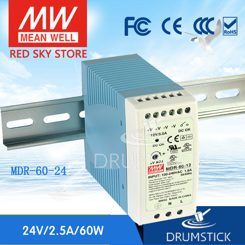 MEAN WELL MDR-60-24 24V 2.5A meanwell MDR-60 60W Single Output Industrial DIN Rail Power Supply mean well original mdr 100 12 12v 7 5a meanwell mdr 100 12v 90w single output industrial din rail power supply