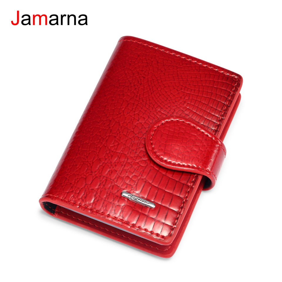 Jamarna Card Holder Crocodile Pattern Genuine Leather Small Wallet 20 PVC Card Pages Case For Cards Credit Card Wallet Unisex