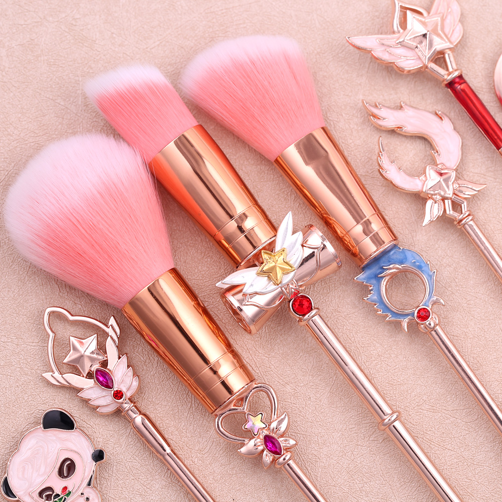 Top Quality Magic Girl Makeup Brushes Soft Pink Powder Concealer Blush Liquid Foundation Face Large Cosmetics Makeup Brush Tools