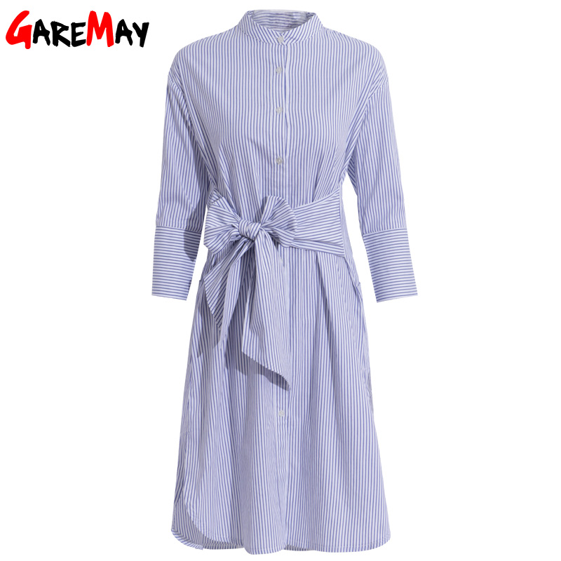 Shirt Dress Women Striped Robe Femme Lace Up Tunic Elegant Office - Women's Clothing