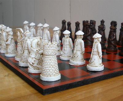 Tsing dynastie 3D Chessman Grace Vingtage échecs avec belle boîte en bois motif Dragon