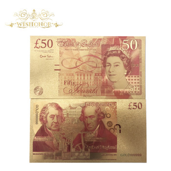 Wholesale 50 Pounds England Colorful Gold Banknote 50 Denomination Banknotes in 24K Gold Money for Gifts and Collection image