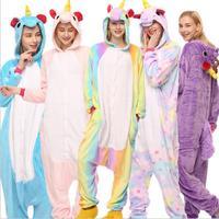 2018 Rainbow Unicorn Kigurumi Stitch Unisex Flannel Hoodie Pajamas Costume Cosplay Animal Onesies Sleepwear Women Adults