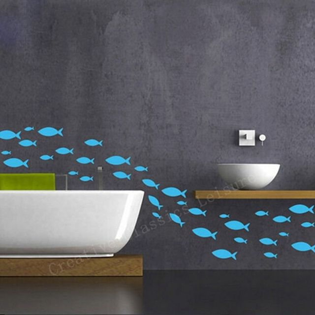 free shipping 35 fish / lot fish vinyl wall decal bathroom decor