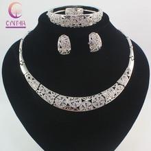 Мода Дубай Белый Позолоченные Полный Rhinestone Ювелирные Наборы Модный Нигерии Свадьба Африканские Бусы Партия Подарочный Набор
