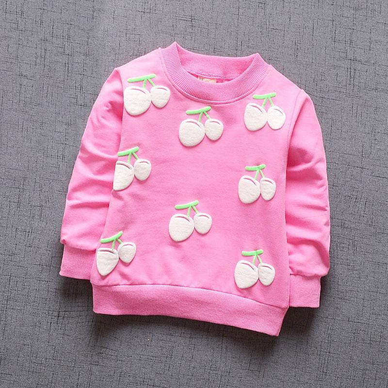 inlovill New Baby Girls Clothing Cherry Blossoms Girls Long Sleeve T Shirt Children's Clothing Casual Sport Tops Tee Shirt