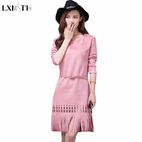 2018 Spring Khaki Pink Tassel Faux Suede Dress Women Long Sleeve Casual Hollow Out Casual O
