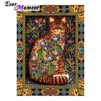Ever Moment Diamond Painting Cat Full Square Drill Picture Of Rhinestone Diamond Embroidery Decoration For Home Mosaic 3F526