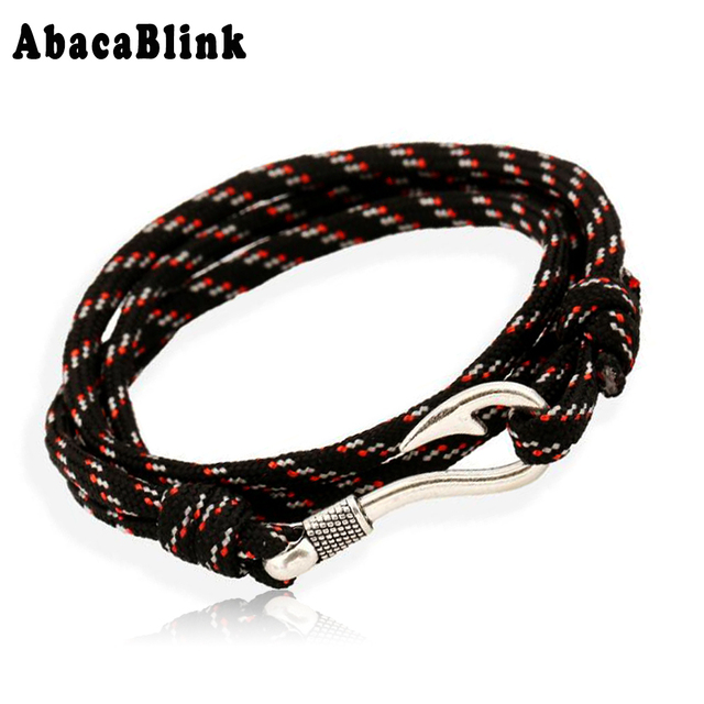 40cm Long Survival Rope Chain Paracord Bracelets For Men Charm Fish Hook Bracelet Wristband Cuff Fashion