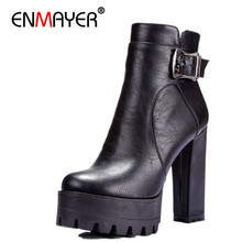 цены women boots punk Buckle Round Toe High boots Square heel Ankle boots for women  platform Martin boots BIG SIZE 34-42