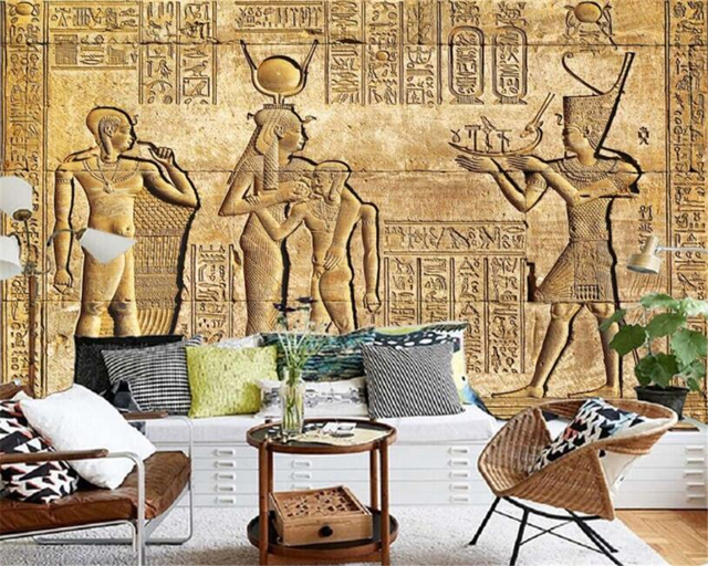 Custom Silk Material Wallpaper HD Egyptian Reliefs Mural Mythology Pharaoh TV Background Wall Photo