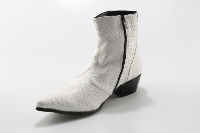 Botas hombre mens winter footwear british style chelsea boots side zipper crocodile skin cowboy boots mens luxury shoes men