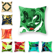 Marble Abstract Polyester/linen Pillowcase Decoration Blue Green Color Geometric Cushion Set Beauty Salon Sofa Accessories