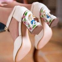 Ажурный каблук Для женщин насосы Ангел Скульптура каблук туфли Мэри Джейн из натуральной кожи Острый носок и высокий каблук Роскошные вече