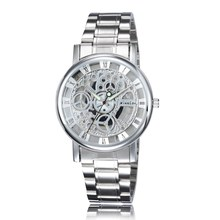 2016 New Brand Men's Business Watch Stainless Steel Hollow Out Relojes Dress Casual Quartz Watch Men Wristwatch High Quality