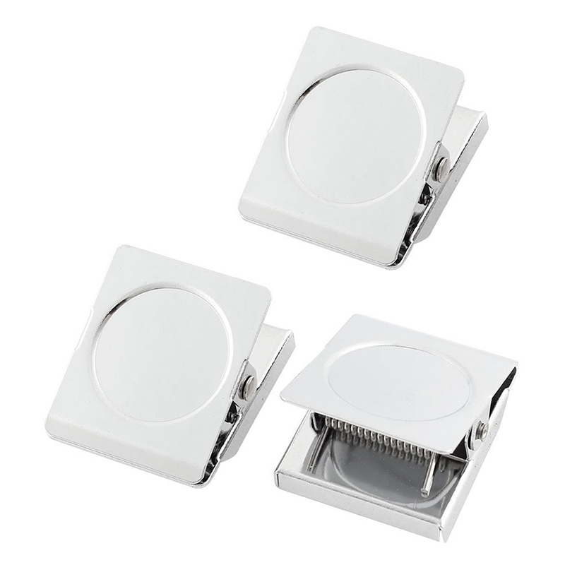 Refrigerator Spring Loaded Magnetic Wall Clip Memo Note Holder 3pcs