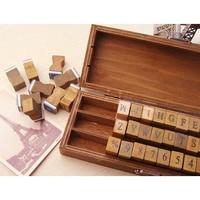 SZ Hot Pack Of 70pcs Rubber Stamps Set Vintage Wooden Box Case Alphabet Letters Number Craft