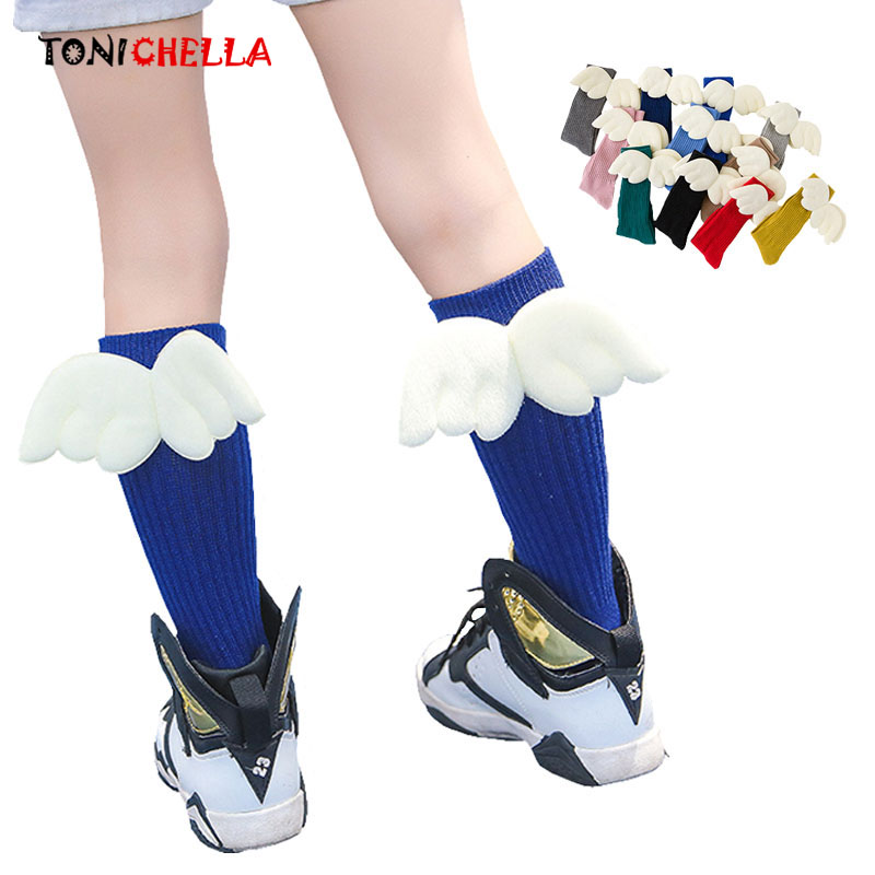 Girls Kid Socks Angel Wing Long Knee Sock Cotton Vertical Striped Hose Leg Warmer Lovely Fashion Candy Color For Girl CL5123