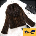 Outwear Coats 100% Mink Fur Coat Knitted Mink  fur coat  Natural Raccoon Fur Collar Women's Fur Mink Jacket  Warm Coat BF-C0155