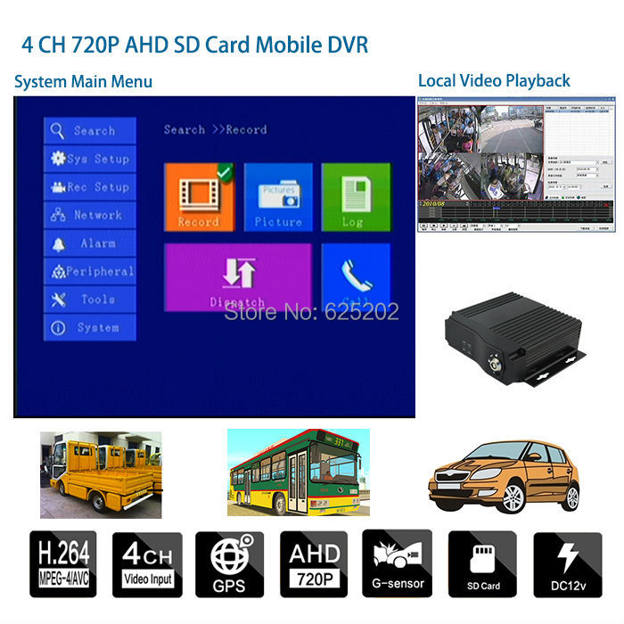 Mini Vehicle Security CCTV System 4CH Mobile DVR