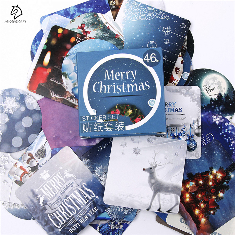 46 Pcs Winter Merry Christmas Diary Sticker Scrapbooking Seal Label Decoration School Supplies Stationery Gift Free Shipping