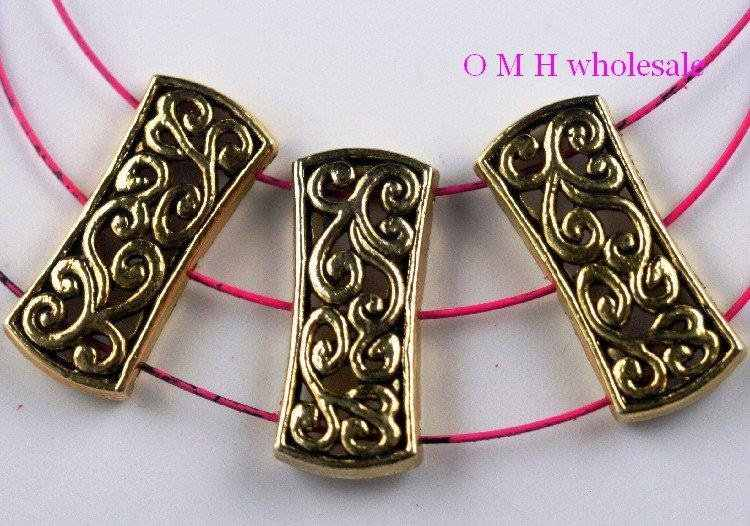OMH wholesale Free ship 5pcs golden 3 hole spacer beads Jewelry metal beads 26x11.5mm ZL522
