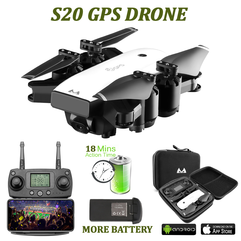 SMRC S20 Drone GPS FOLLOW ME 1080P Camera HD WIFI FPV Foldable Selfie Quadcopter Low Power Return Live Video Toys For Children