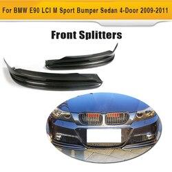 Z włókna węglowego boczne fartuchy z przodu samochodu Splitter klapa Cupwing dla BMW E90 LCI M Sport zderzak Sedan 4-Door 2009 -2011
