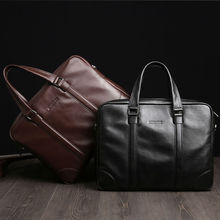 2017 High-end Black/brown full grain cow leather cattlehid Messenger Bag Soft Microgroove Men Genuine Leather briefcases(XW6018)