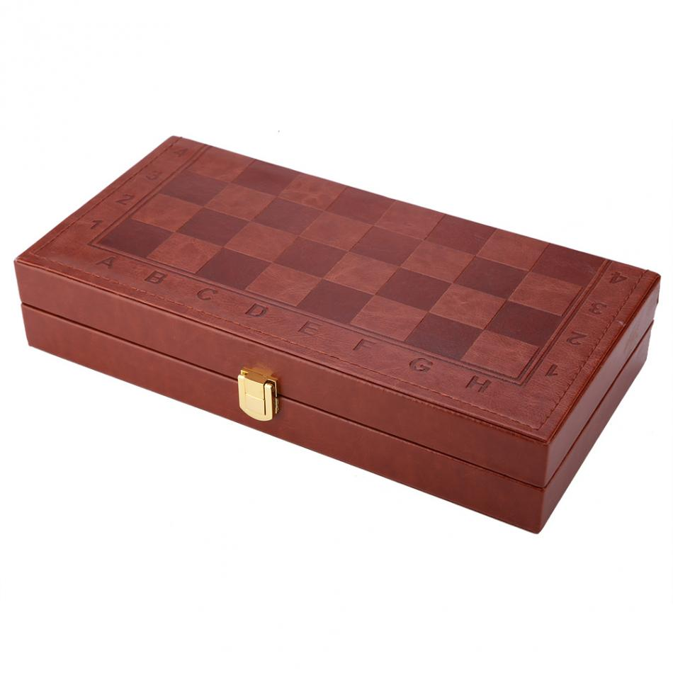 3 in 1 Portable Wooden Chess Checkers and Backgammon Board Game 12