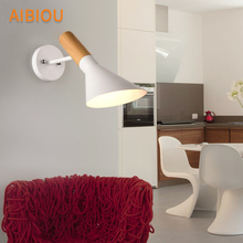 AIBIOU Modern Led Wall Lights For Living Room Nordic Style E27 Sconce Designer Wooden Mounted Reading Light