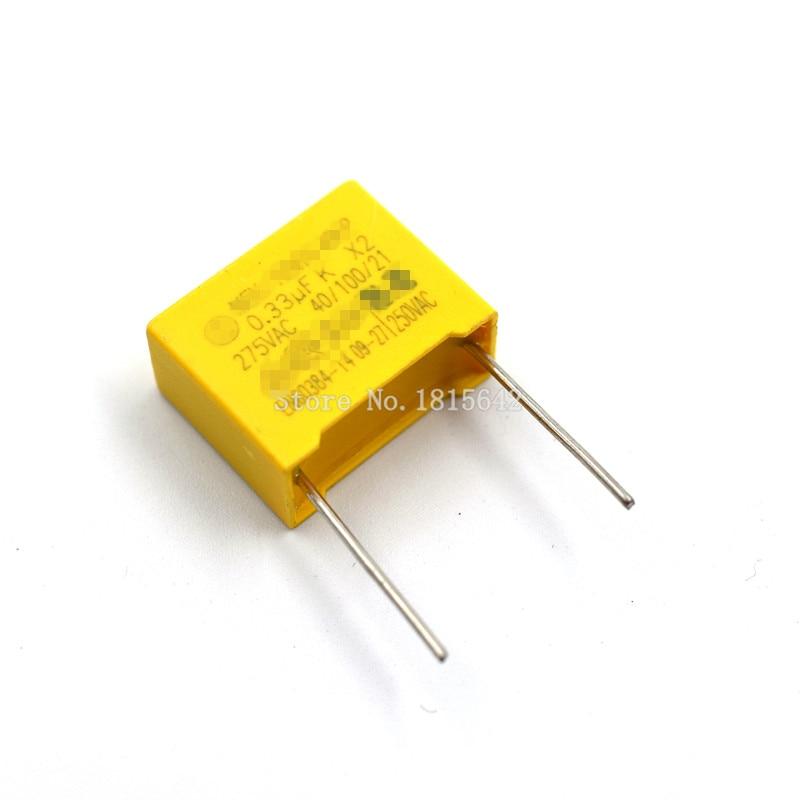 10PCS/LOT Safety Capacitor 275VAC 334 0.33UF 275V Pitch 15mm Polypropylene Film Capacitor Capacitance
