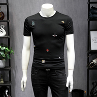 Top Quality US Great Designer Brand Embroidery Men's T shirt 2019 Summer Mercerized Cotton Solid Short Sleeve Men T shirts 9210