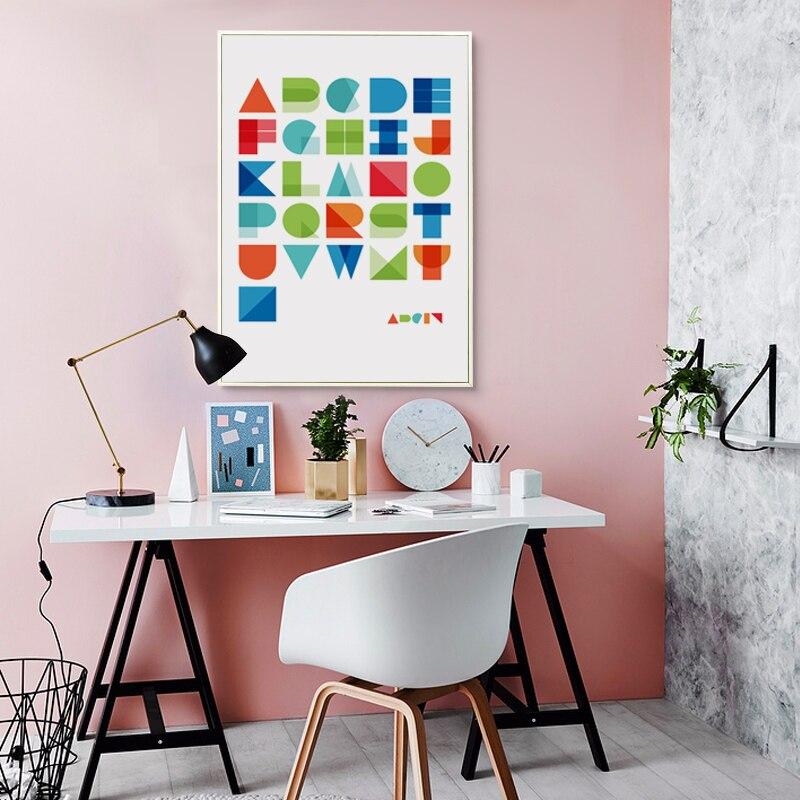 Цветной геометрический абстрактный английские буквы настенные панно холст Книги по искусству печати плакат стены Книги по искусству украш...