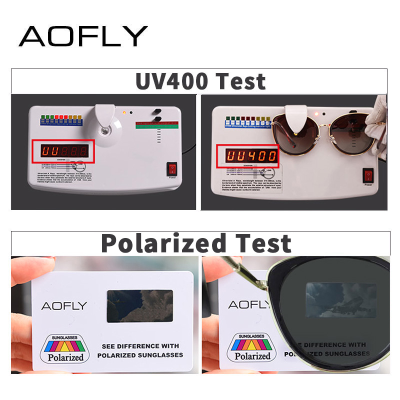 Image 5 - AOFLY BRAND DESIGN New 2019 Cat Eye Sunglasses Women Gradient Lens Polarized Sunglasses Female Metal Temple Goggles UV400 A111Womens Sunglasses   -