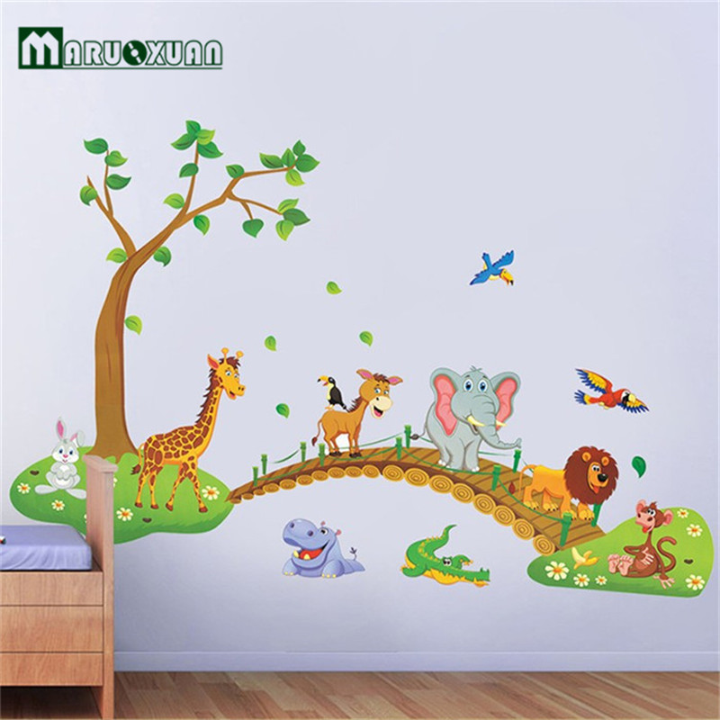 Exceptionnel Big Jungle Animals Bridge Vinyl Wall Stickers Kids Bedroom Wallpaper Decals  Cute Anime Baby Children Cartoon Room Nursery Decor In Wall Stickers From  Home ...