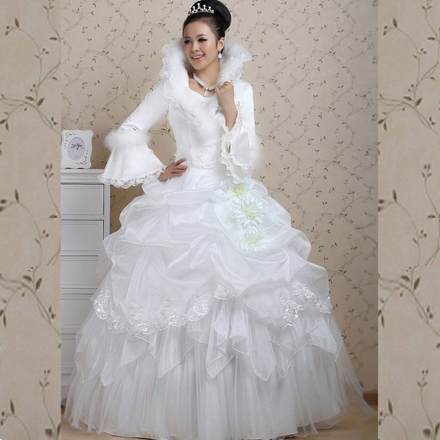 Bride Winter Plus Cotton Long Sleeve Wool Stand Collar Wedding Dress Thermal Sweet