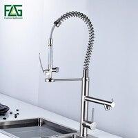 FLG кисть кухня кран вытащить torneira cozinha никель Кухня Раковина кран смеситель для кухни вытащить кухонный кран