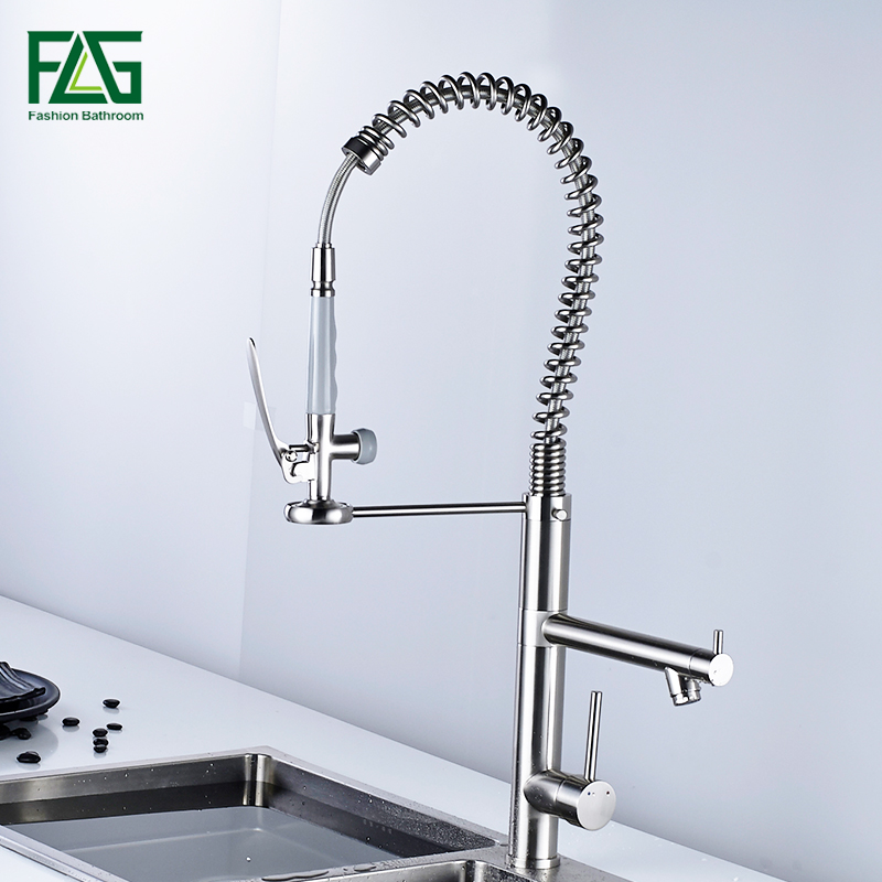 FLG Brush kitchen faucet pull out torneira cozinha nickel kitchen sink faucet mixer kitchen faucets pull out kitchen tap цена
