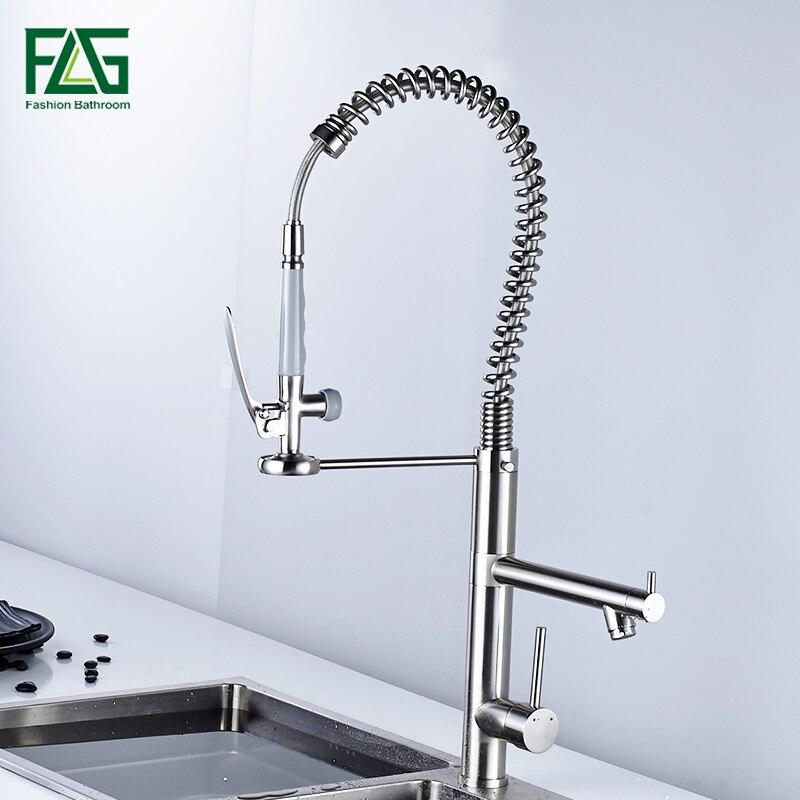 FLG Pennello rubinetto della cucina pull out torneira cozinha nichel kitchen sink rubinetto miscelatore rubinetti della cucina pull out colpetto della cucina