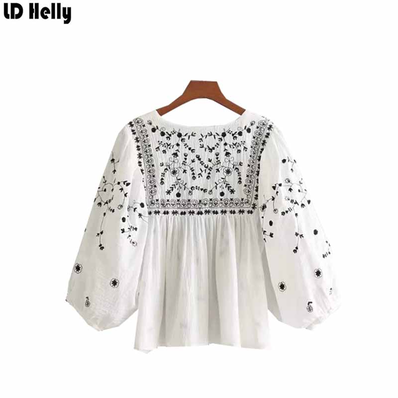 LD Helly Fashion New Casual Floral Embroidery Loose Blouses V-Neck Three Quarter Sleeve Brand Design Shirt Tops For Women Blusas