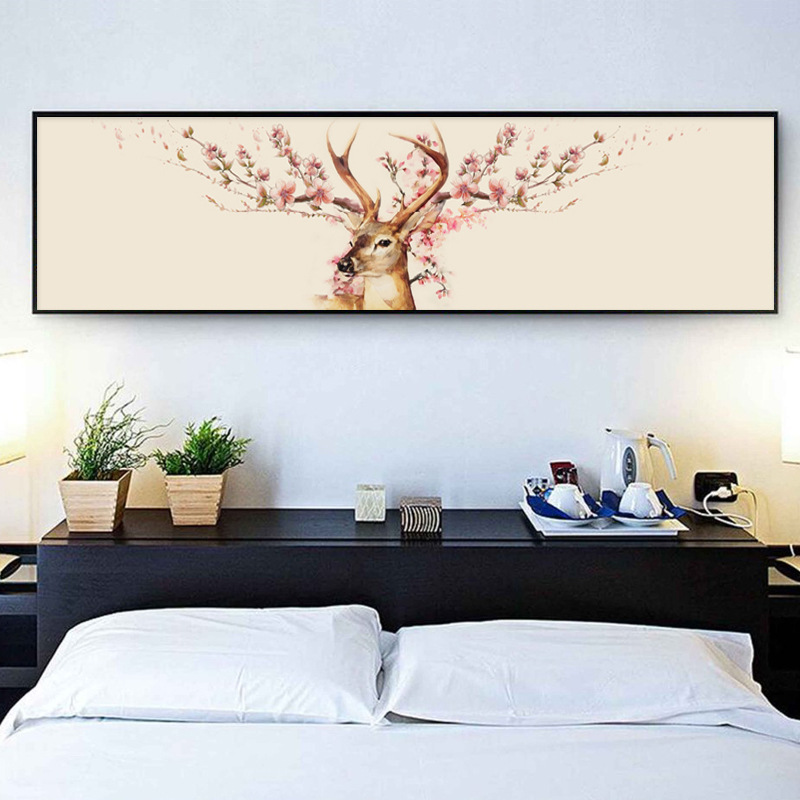 Full Diamond Painting Flowers Deer Picture Rhinestones Embroidery Mosaic Nordic Style Home Decor DIY Round Diamond