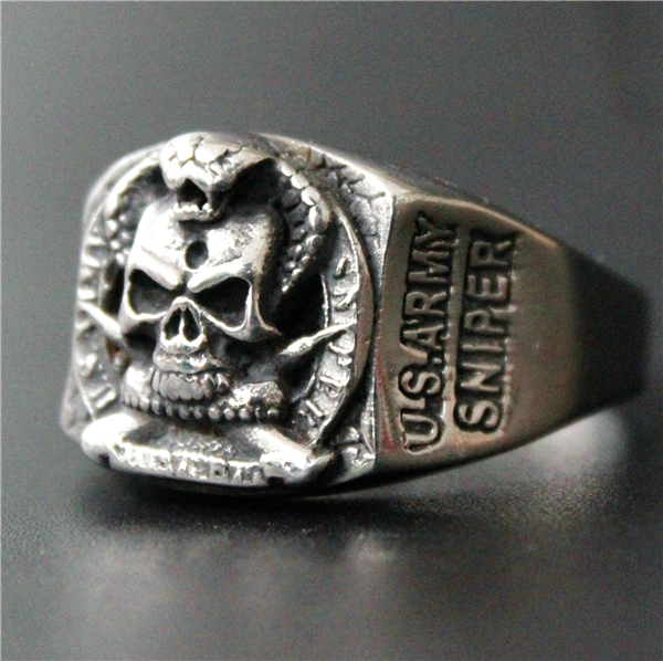 Cool USA ARMY SNIPER Ring 316L Stainless Steel Jewelry Biker Airborne Ring Women Mens Silver