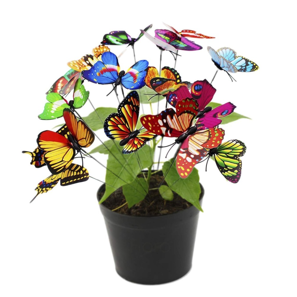 10pcs Artificial Butterfly Garden Decorations Outdoor Garden Decoration Animal Simulation Butterfly Stakes Yard Plant Lawn Decor