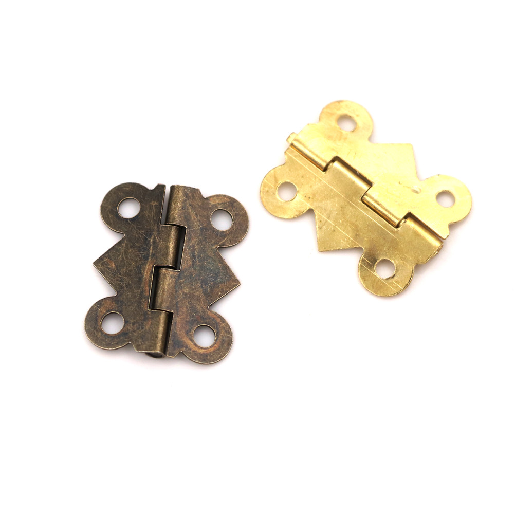 80x Metal Decorative Bronze Mini Spring Hinges Replacement for Jewelry Box