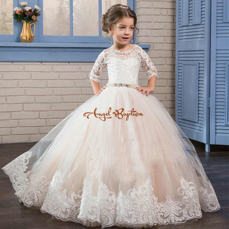 2018 lovely white ball gown flower girl dresses appliqued tulle lace with bead sash kids first communion gowns cute new long sleeves white ball gown flower girl dresses french lace beaded first communion dress with sequin bow and sash