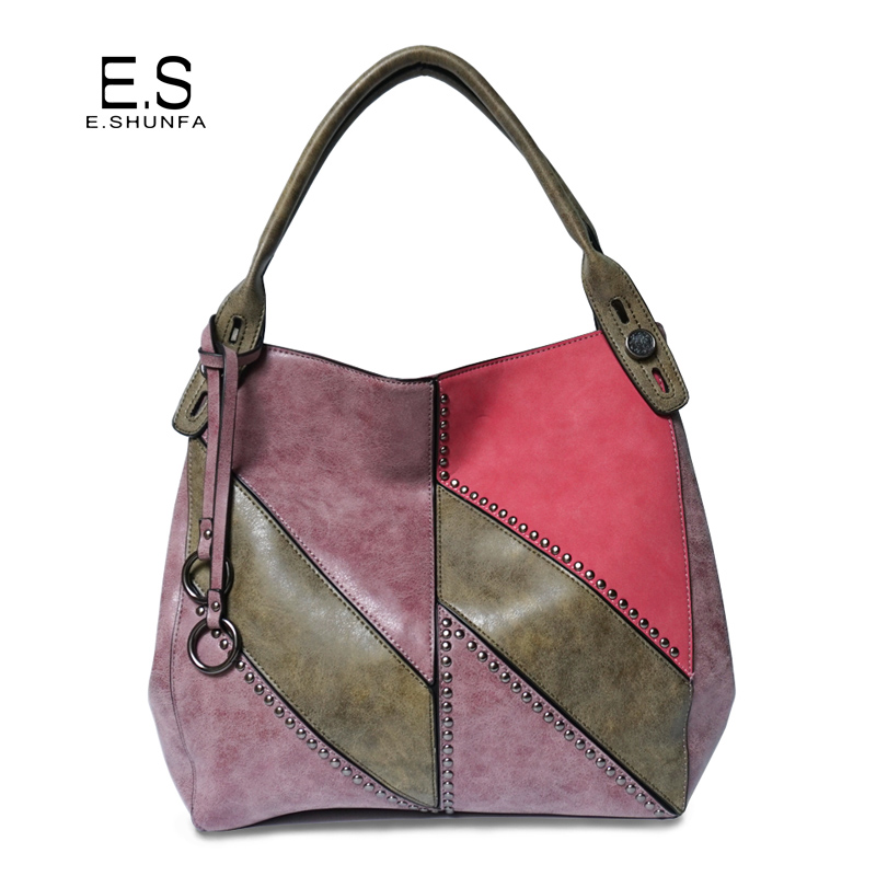 Patchwork Shoulder Bag 2018 New Arrival Soft PU Leather Tote Bag Handbag High Quality Large Capacity Rivets Shoulder Bags Women new arrival women handbag fashion pu leather women big shoulder bags zipper soft ladies bag high quality valentine tote bag