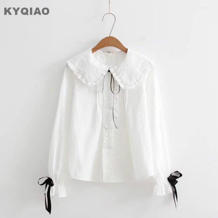 Japanese School Uniform Mori Girls Summer Japanese Style Short Sleeve Turndown Collar Blue White Pink Striped Bowknot Blouse Women's Clothing