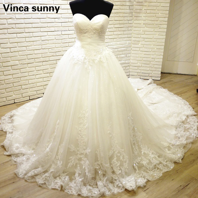 Charming Sweetheart Applique Lace Vintage Bridal Wedding Dress 2018 ...