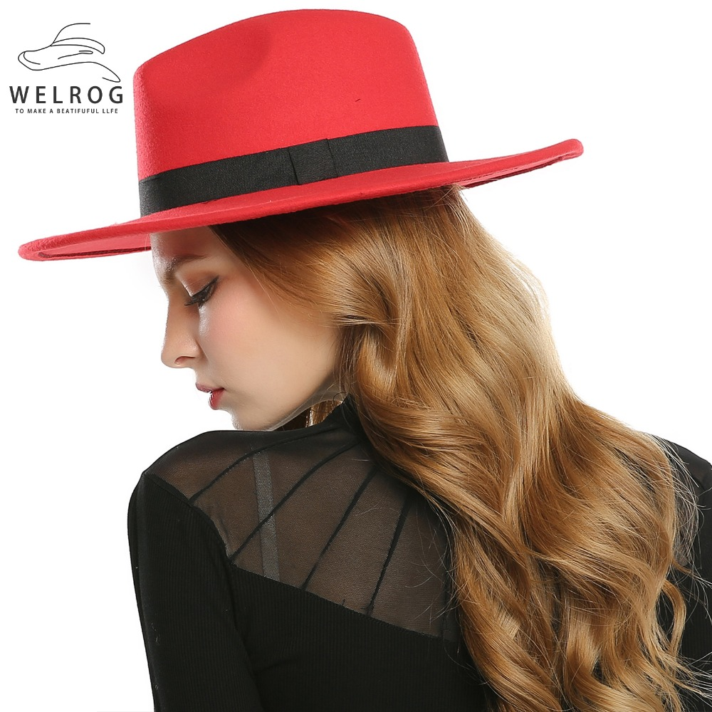 a613cf87 WELROG Black Red Fedora Hats For Women Imitation Wool Fedoras Panama Felt  Hat Winter Men Jazz Hats Trilby Chapeau Femme Caps-in Women's Fedoras from  Apparel ...